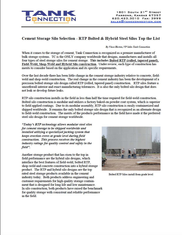 Cement Storage Silo Selection