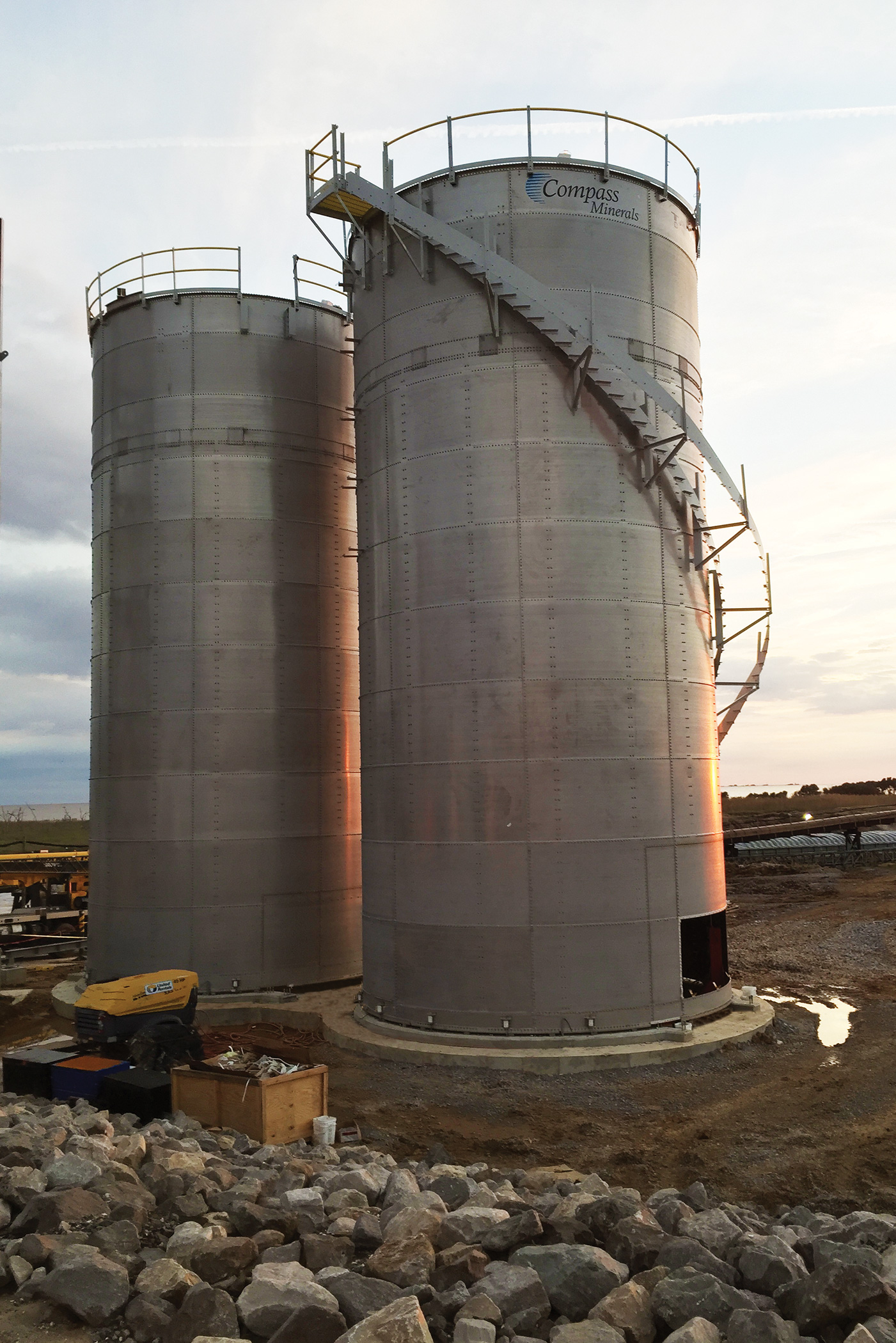 Salt mining stainless steel silos