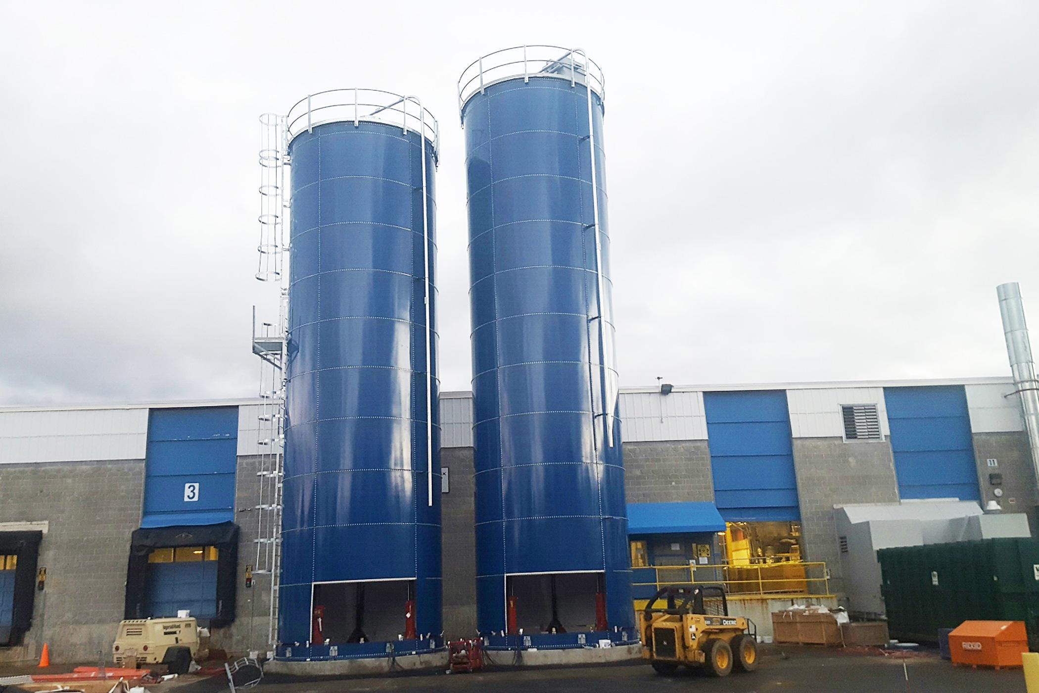 Plastic pellet storage silos
