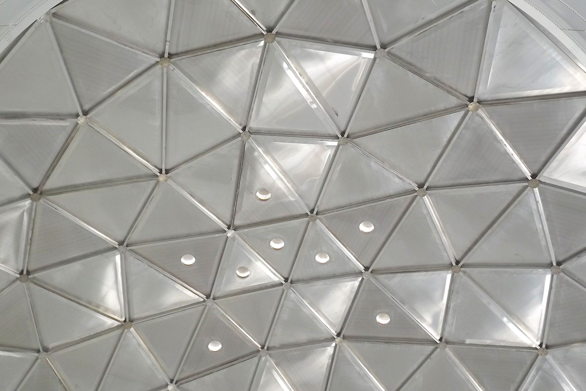 Ceiling view of an aluminum geodesic dome