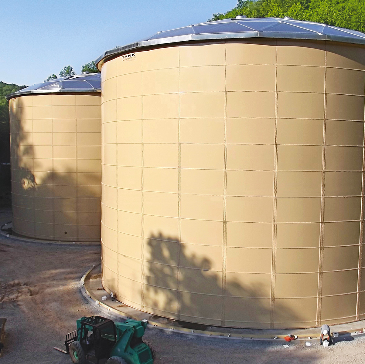 Process water storage with domes