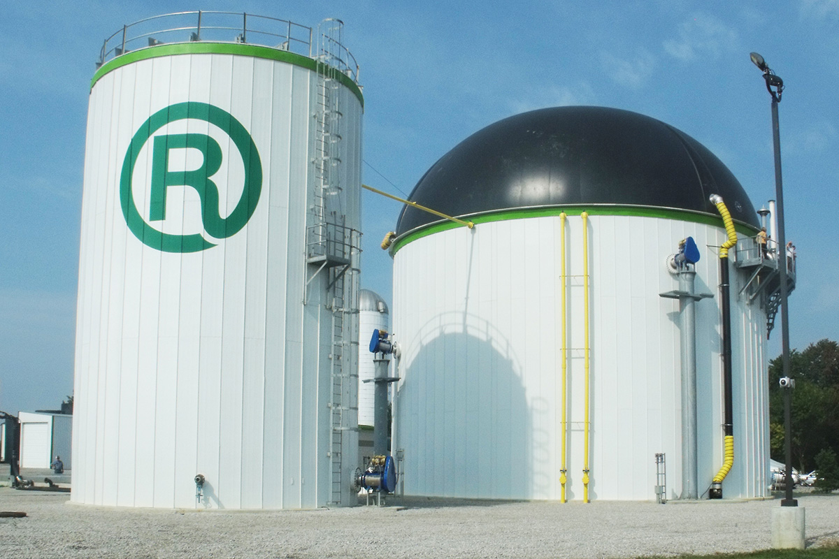 Water storage silo black dome