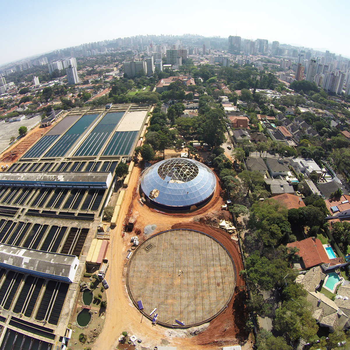 Arial view of water storage tank