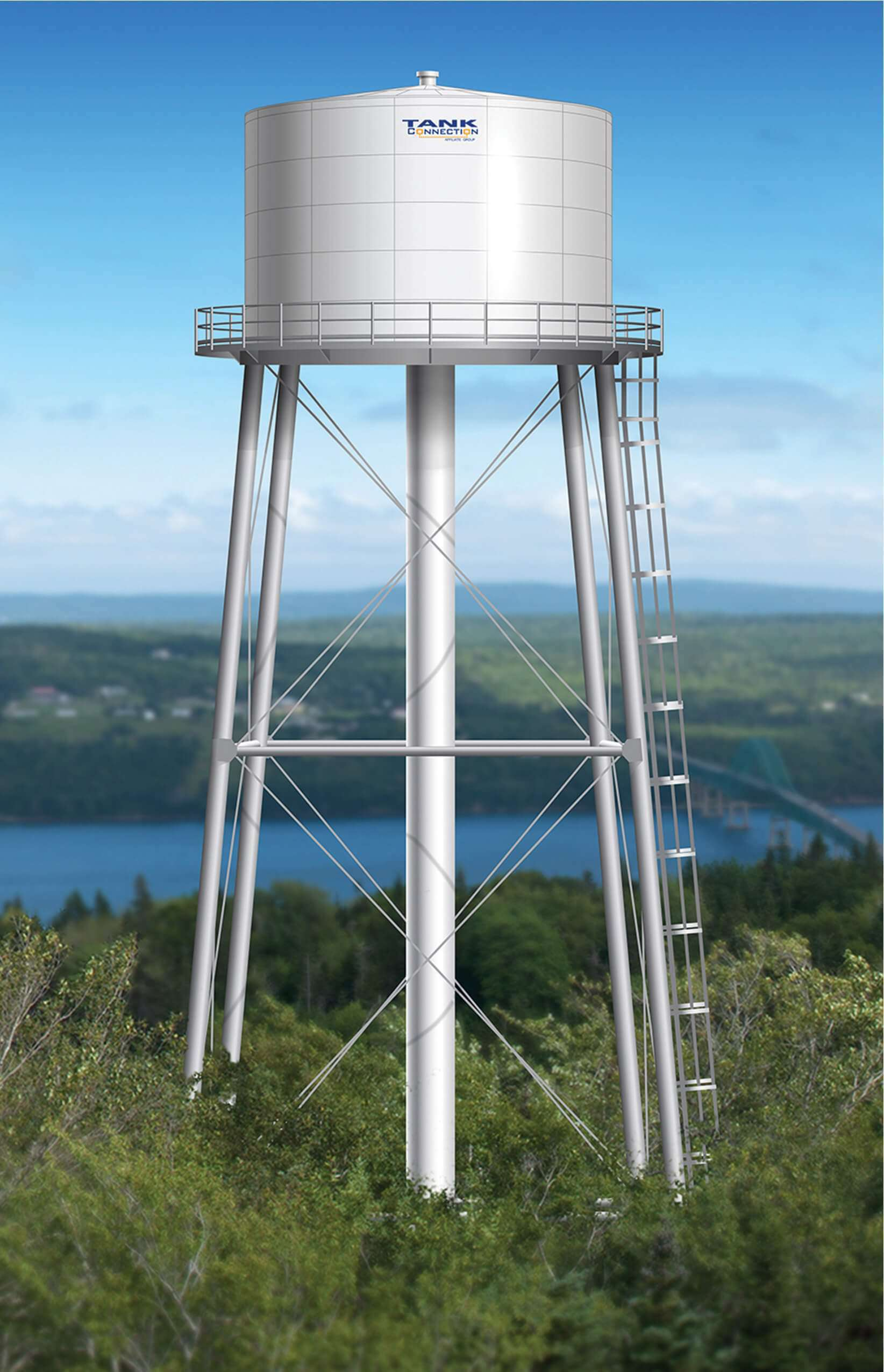 Steel water tank - multi-column design