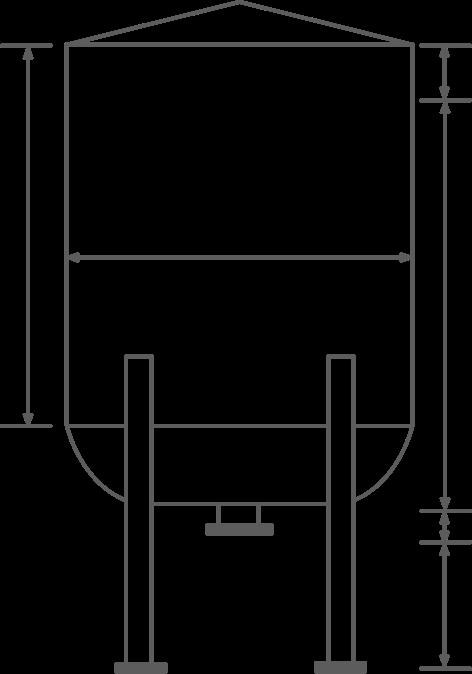 Drawing of a liquid dish bottom storage tank